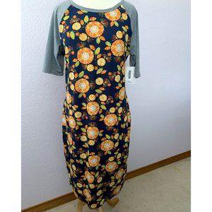 LuLaRoe Julia navy floral, gray raglan sleeves NWT